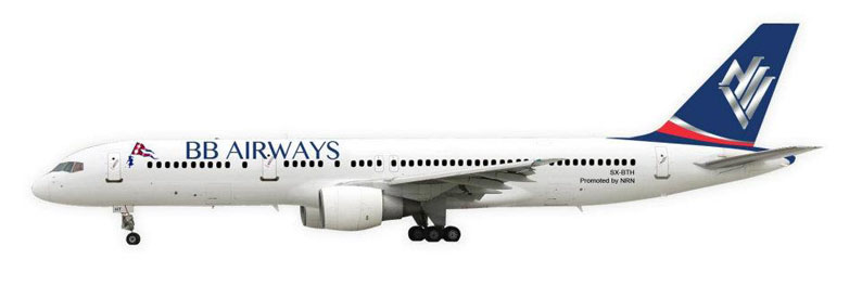 Illustration of BB Airways Boeing 757-200
