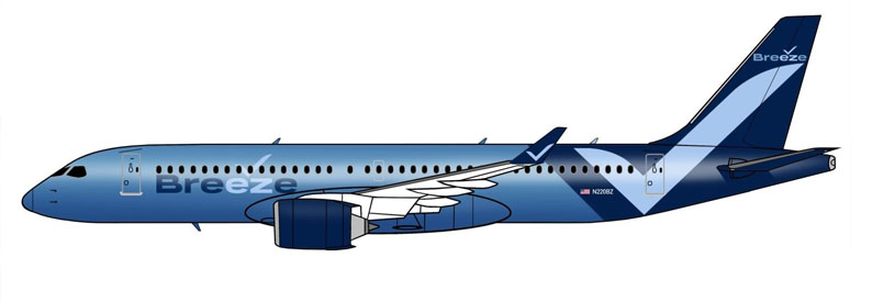 Illustration of Breeze Airways Airbus A220-300